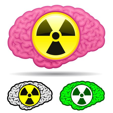 Brain with radioactive icon set Vector