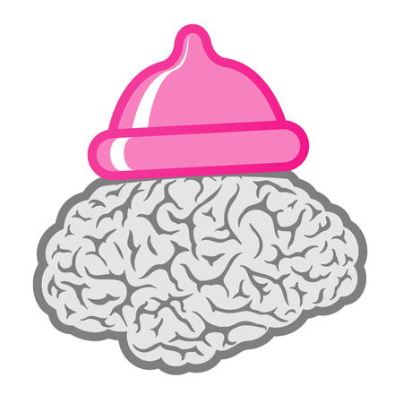 Brain with pink condom hat Vector