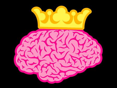 King brain wit crown Vector