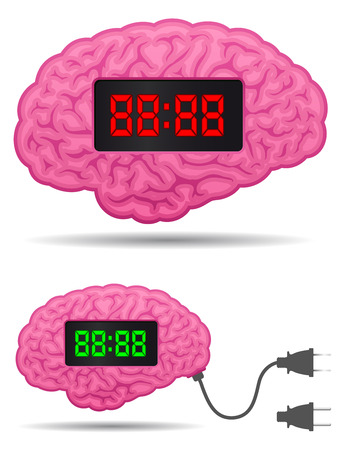 Digital alarm clock brain with connector plug cable Stock Vector - 7276231