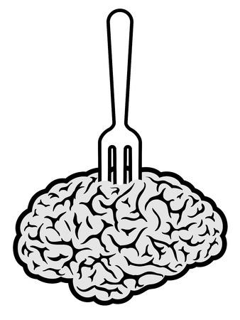 durchbohrt: Brainfood durchbohrt auf Gabel Illustration