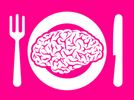 Brain food on plate with fork and knife Vector