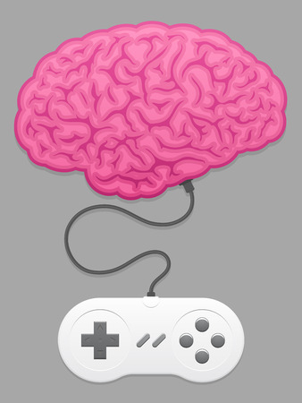 computer games: Brain with computer game pad Illustration