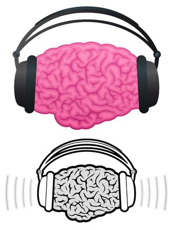 Brain with headphones listening to music Stock Vector - 7276255