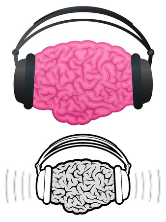 Brain with headphones listening to music Vector