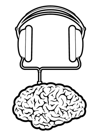 Brain music player with headphones Vector