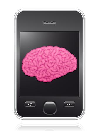 phone button: Slimme telefoon met roze hersenen op scherm Stock Illustratie