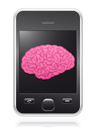 Smart phone with pink brain on screen Vector