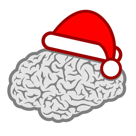 brain and thinking: Santa hat brain icon Illustration