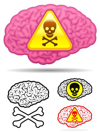 Danger skull brain collection Vector