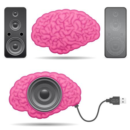usb kabel: Lautsprecher Gehirn mit Usb-Kabel Illustration