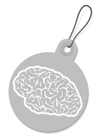 Label with brain silhouette Vector