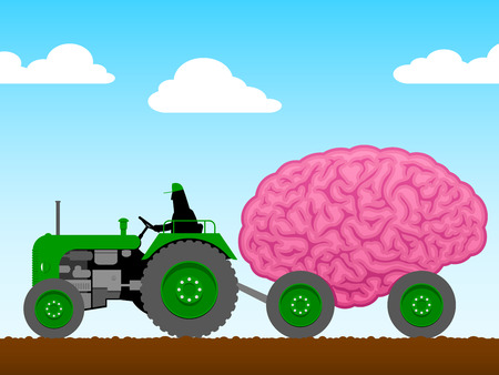 Small tractor pulling a huge brain Vector