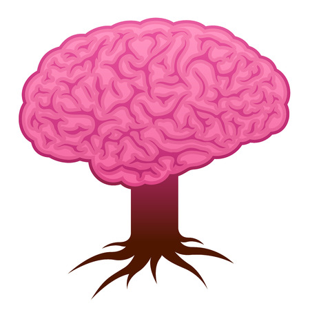mentality: Brain with stem and roots