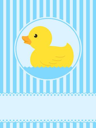 Tarjeta de felicitación de pato de goma cute