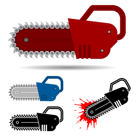 Chainsaw set with blood Stock Vector - 7594889