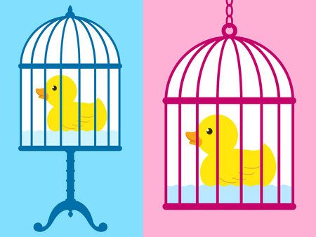 Cute rubber duck captured in a birdcage  Vector