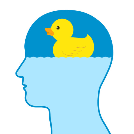 Male human thinking of a toy rubber duck