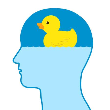 Pensamiento humano masculino de un pato de goma de juguete