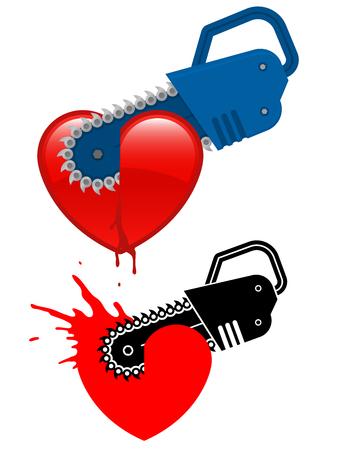 destroying: Chainsaw destroying a heart  Illustration
