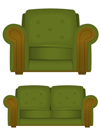 Green retro armchair and couch