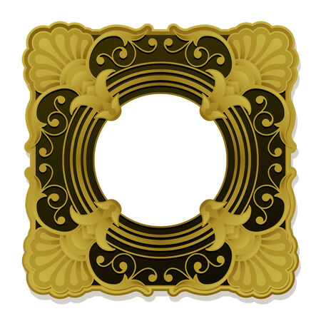 Golden ornamental vintage picture frame Vector