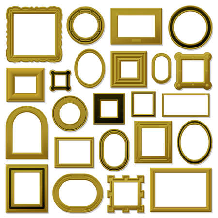 Collection of golden vintage picture frames Vector