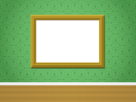 Wall with golden picture frame and ornamental wallpaper Vector
