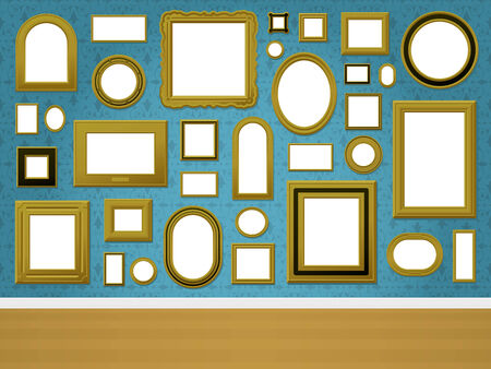 Wall with golden picture frames and ornamental wallpaper
