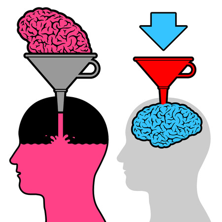 of funnel: Male head silhouette learning with funnel and brain for knowledge