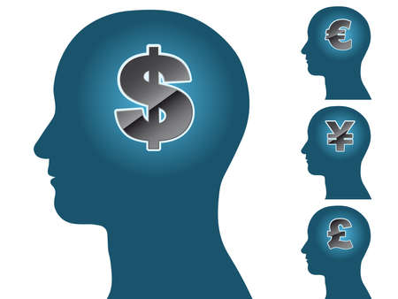 Male head silhouette thinking of money dollar euro yen pound Vector