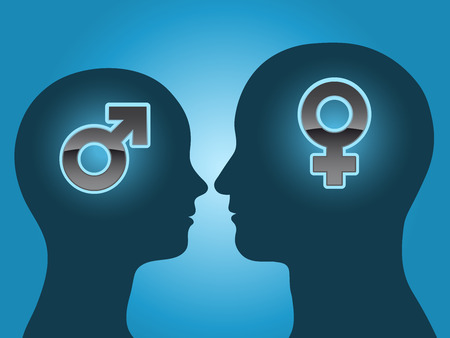 Man and woman head silhouette with gender symbols Stock Illustratie