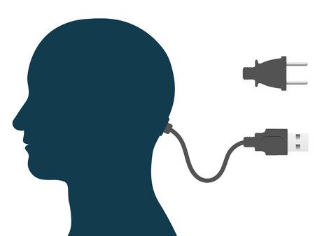 man face profile: Silueta de cabeza masculina con cable de equipo y de la electricidad