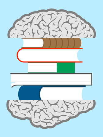 stack of papers: Brain books sandwich