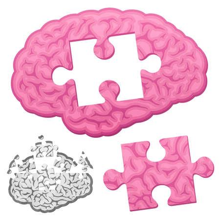Jigsaw brain puzzle Stock Vector - 8192462