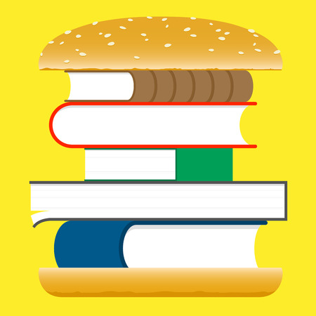books stack: Books hamburger – fast food Illustration