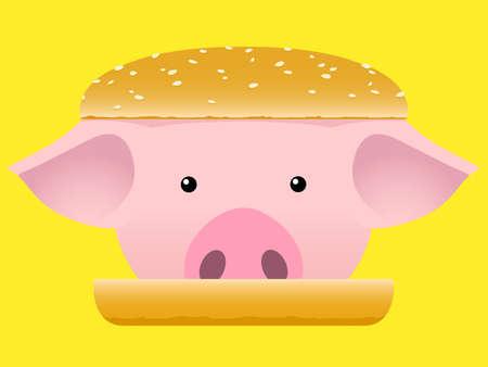 piglet: Porc head hamburger - fast food