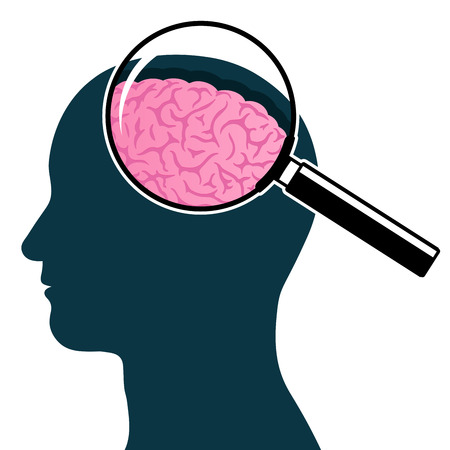 Male head silhouette with magnifying glass and brain Stock Illustratie