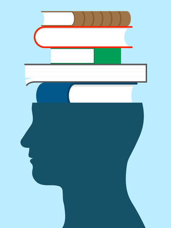 head silhouette: Male head silhouette with stack of books - education