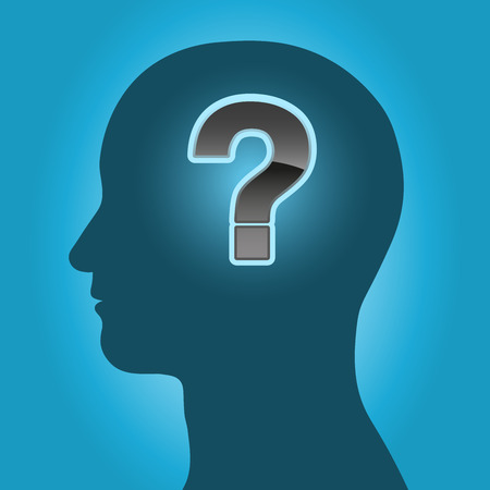 brain mysteries: Male head silhouette with question mark Illustration