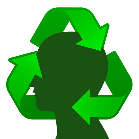 Male head silhouette with recycling symbol Stock Vector - 8192455