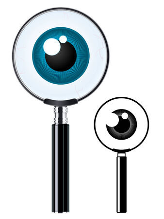 magnification icon: Magnifying glass and eyeball