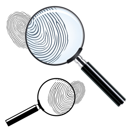 magnify glass: Magnifying glass and fingerprint