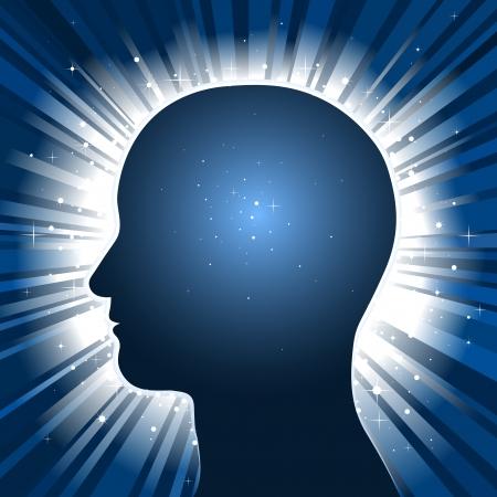 cerebros: Fondo de estrellas r�faga de ingenio de silueta de cabeza Vectores