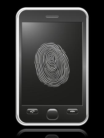 smart phone with touch-screen fingerprint Vector