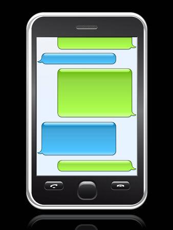 smart phone with conversation speech bubbles