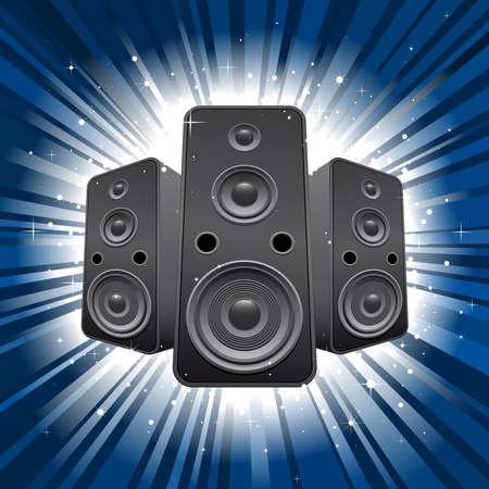 speaker set with blue star burst background Stock Vector - 8506547