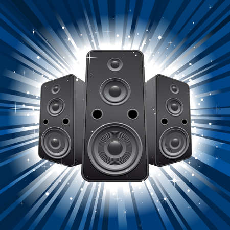 speaker set with blue star burst background Vector