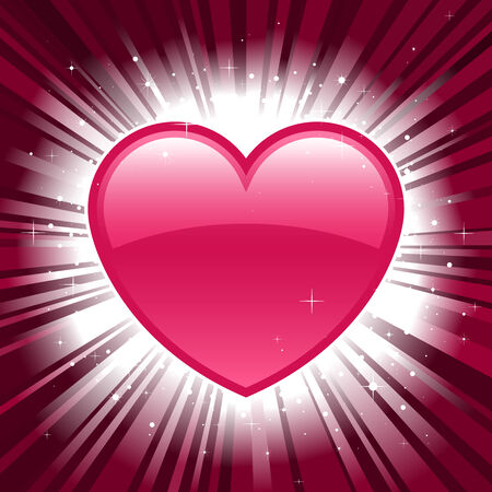 love blast: Shiny pink valentine heart on star burst background