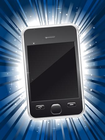 깜짝: Shiny new smart phone on blue star burst background 일러스트